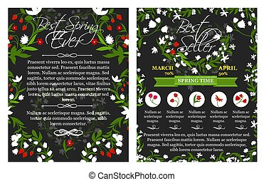 Vector spring time sale vector posters set