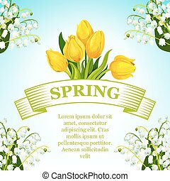 Vector spring tulip and lilly flowers bunch poster