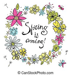 Vector spring wreath with vintage pastel hand drawn doodle flowe