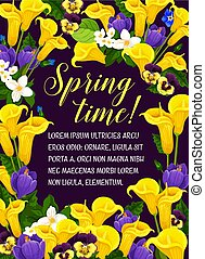 Vector springtime floral poster of flowers