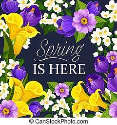 Vector springtime flowers bunch greeting card