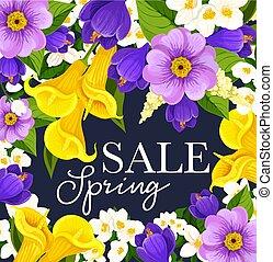 Vector springtime sale floral flowers bunch poster