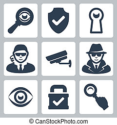 Vector spy and security icons set: magnifying glass, shield,...