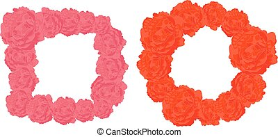 Vector Square and Round Frames of Pink and Orange Roses