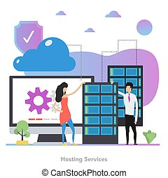 Vector square concept of hosting services in flat