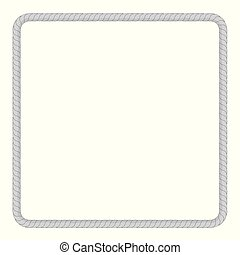 square frame from gray rope for your element design, isolated on white
