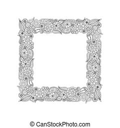 Vector square frame from hand drawn floral doodle elements. Coloring page book for adults.
