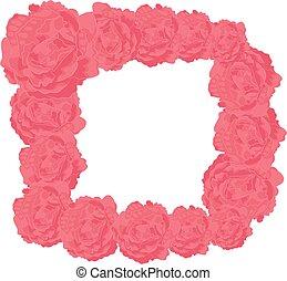 Vector Square Frame of Pink Roses