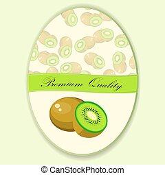 Vector square label, kiwi jam,