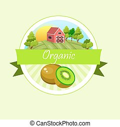Vector square label, kiwi jam,