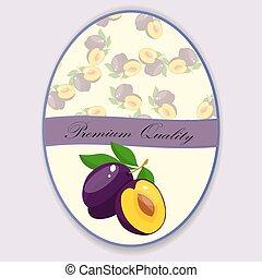 Vector square label, plum jam,