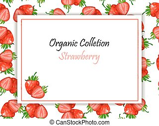 Vector square label, strawberry jam or juice
