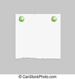 Vector Square Paper Piece with Realistic Green Pin Buttons, Isolated Background Illustration.