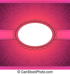 vector squared label on pink floral background