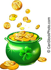 vector St. Patrick`s Day green pot with gold coins