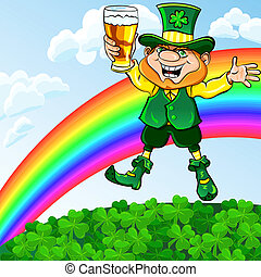 Vector St. Patrick's Day leprechaun with a glass of beer