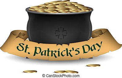 Vector St. Patrick's Day symbol - pot of gold with ribbon.