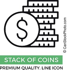 Vector stack of coins icon. Pile of coins concept. Premium quality graphic design element. Modern sign, linear pictogram, outline symbol, simple thin line icon
