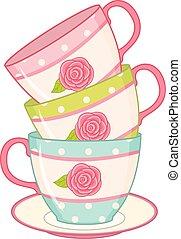 Vector Stack of Tea Cups
