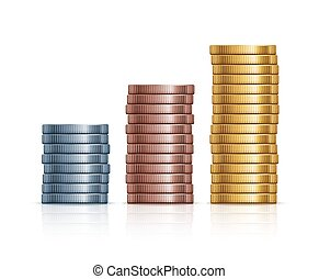 Vector stacks of coins. Gold, silver and copper coins