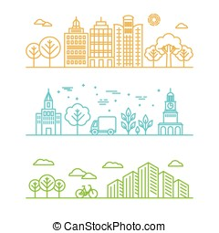 vector, stad, illustratie, in, lineair, stijl