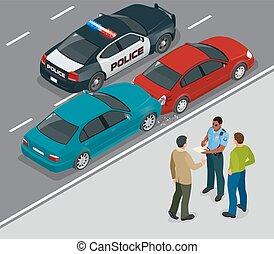 vector, stad, isometric, ongeluk, auto, plat, geredeneer, auto's, bestuurders, na, collision., twee, illustratie, scene., het impliceren, verkeer, straat., auto, politieagent, 3d