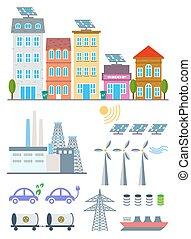 vector, stad, set, spandoek, elements., diagram, eco, ecosysteem, illustratie, milieu, infographic, ecologie, icons., mal, informatieboekje , groene, web ontwerp, communie, achtergrond