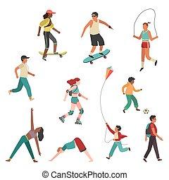 vector, stad, vrouw, exercise., mensen, jonge jongen, vrijstaand, persoon lopen, set, plat, activiteit, meisje, man, lichamelijk