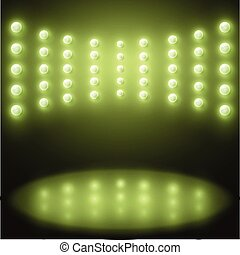 Vector stage with Background in show, green lights