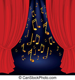 Vector stage with golden notes - Vector illustration of a...