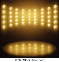 Vector stage yellow lights, Abstract sparkling background