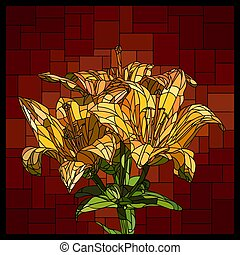 Vector stained glass window with blooming bouquet of yellow lilies.