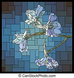 Vector stained glass window with blooming flowers of blue delphiniums.