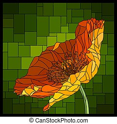 Vector stained glass window with blooming poppy.