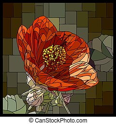 Vector stained glass window with blooming red abutilons.