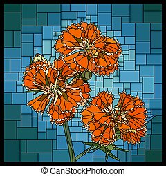 Vector stained glass window with blooming red carnation.