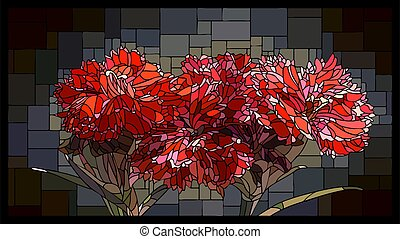 Vector stained glass window with blooming red carnations.
