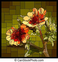 Vector stained glass window with blooming red Cinquefoil.