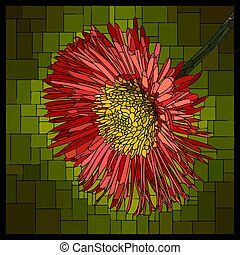 Vector stained glass window with blooming red erigeron.