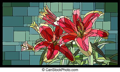 Vector stained glass window with blooming red lilies with buds.