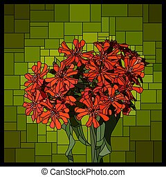 Vector stained glass window with blooming red lychnis.