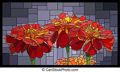 Vector stained glass window with blooming red marigolds.