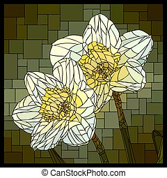 Vector stained glass window with blooming two flowers of narcissus.