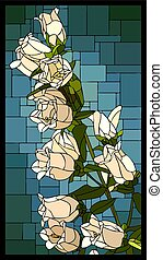 Vector stained glass window with blooming white campanula...