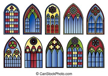 Vector stained glass windows set. Decoration frame,...