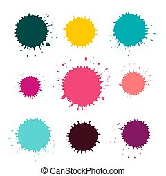 Vector Stains - Blots Set Isolated on White Background. Colorful Splashes.