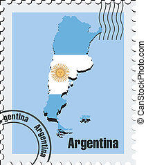 vector stamp  of Argentina