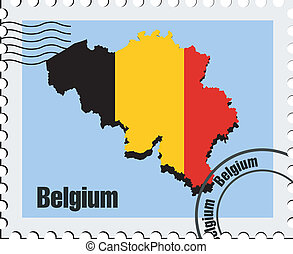 vector stamp  of Belgium