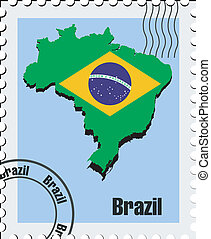 vector stamp  of Brazil