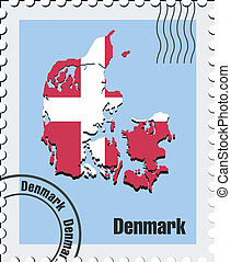 vector stamp of Denmark